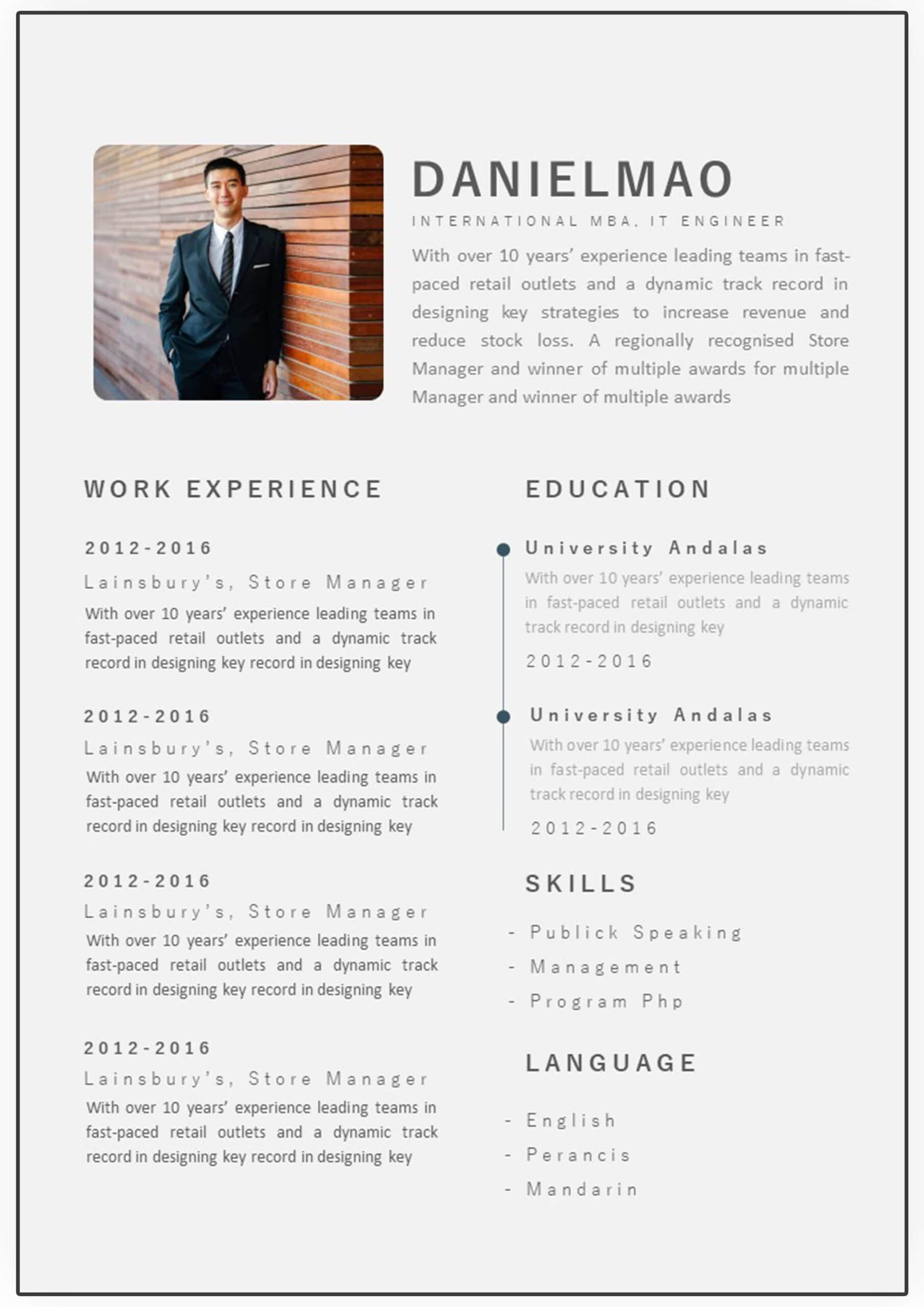 CV Design Types